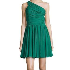 Halston Heritage Ruched Emerald Green Dress